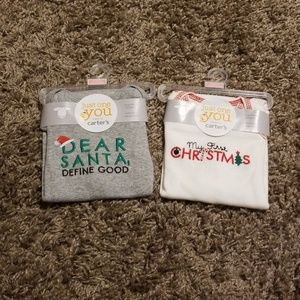 2 Carter's Christmas Long Sleeve Bodysuits sz. Nbn